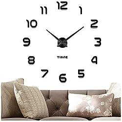 VANGOLD Mute DIY Reloj de Pared sin Marco Espejo Grande 3D Sticker-2 años de garantía (Negro)