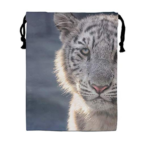 Einst White Tiger Turnbeutel Bag/Shoes Underwear Makeup Laundry Storage Pouch Bags Organizers 15.75 x 11.8 (Halloween-make-up Tiger White)