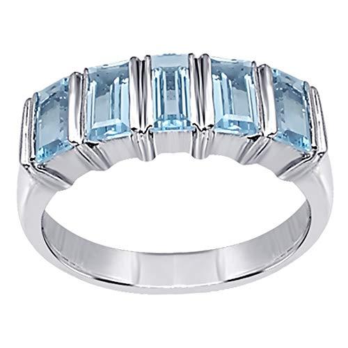 Orchid Jewelry Damen-Ring 2,5 Karat Blautopas Blautopas Trauring für Damen Sterling-Silber 925 Geburtsstein Dezember Größe N