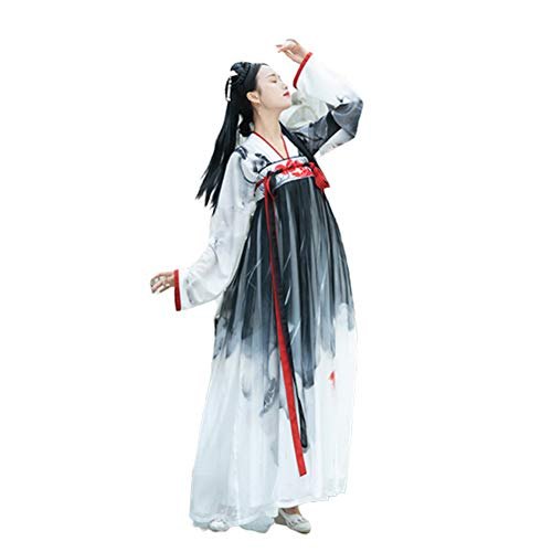 297cffcc38a0f Women's Ancient Chinese Style Chest Clothes,Tang Suit Printing National  Traditional Retro Hanfu Long Sleeve Cosplay Performances Costume,M