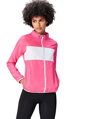 FIND Sportjacke Damen versteckbare Kapuze Colour Blocking, Pink / Hellgrau, 38 (Herstellergröße: Medium)