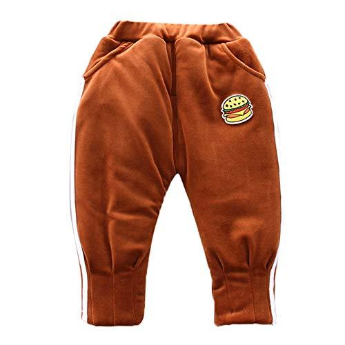 Oliviavan Kinder Hosen Baby Jungen M?dchen gestreifter Burger Print Herbst und Winter Plus warme Wildhose aus Samt Strampler Schlafanzug Baumwolle (12M-3Y)