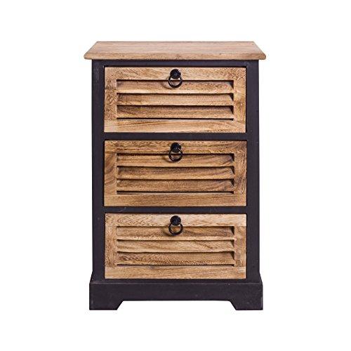 Rebecca mobili comodini cassettiera con 3 cassetti legno scuro urban vintage arredo casa camera bagno (cod. re4549)