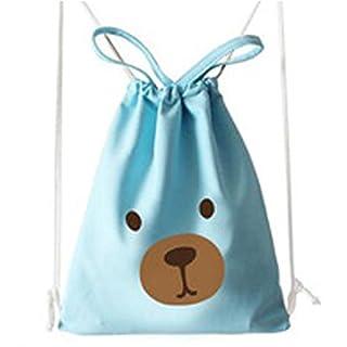 Lovely Girls Hand bag Cotton Canvas Shoulder Bag Dual-use Bag Travel Tote Bag Beach Bag Shoulder Bag Holiday Drawstring pocket Shopping Bags Storage Bag For Women Girls Students,Aixin (Blue Bear)
