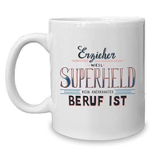 Shirtdepartment - Kaffeebecher - Tasse - Erzieher - Superheld Weiss-orange