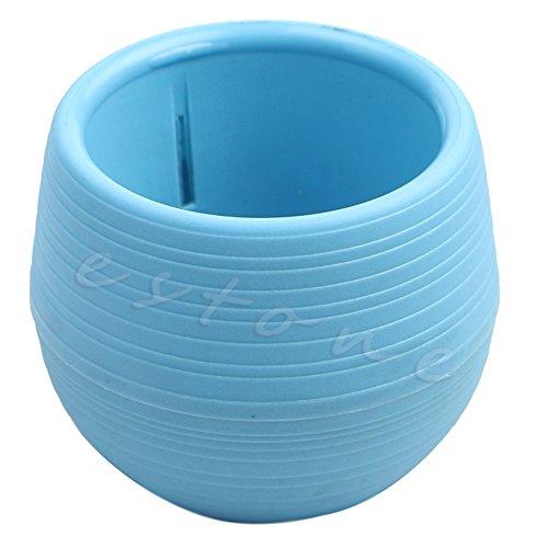 Kofun Mini-Blumentopf aus Kunststoff, 7 x 6,5 cm, rund, für Haus / Garten / Büro blau