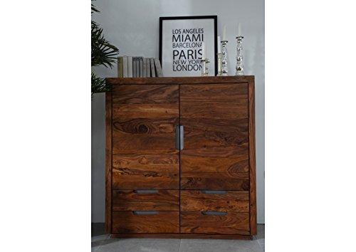 MASSIVMOEBEL24.DE Sheesham Massivholz massiv Möbel lackiert Highboard Palisander Möbel massiv Holz walnuss Duke #117