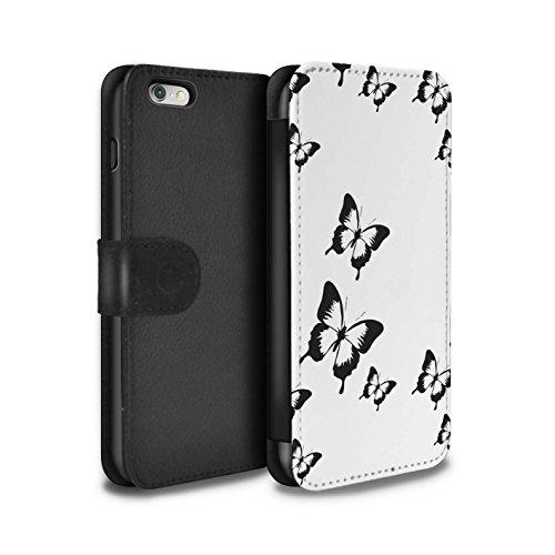 Stuff4 Coque/Etui/Housse Cuir PU Case/Cover pour Apple iPhone 6S+/Plus / Cube 3D/Modèle Design / Mode Noir Collection Dessin Animé Papillon
