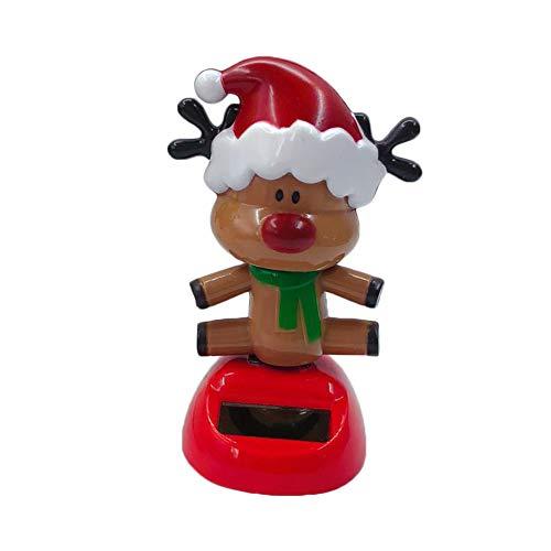 Kentop Weihnachten Solar Wackel Figur Rentier Solarbetriebene Tanz Swinging Spielzeug für Auto Desktop Zuhause Büro Weihnachten Dekoration