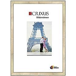 Crixus37 Echtholz Bilderrahmen für 46 x 125 cm Bilder, Farbe: Schlagmetall Silber, Massivholz Rahmen in Maßanfertigung mit entspiegeltem Acrylglas und MDF Rückwand, Rahmen Breite: 37 mm, Aussenmaß: 52,9 x 131,9 cm