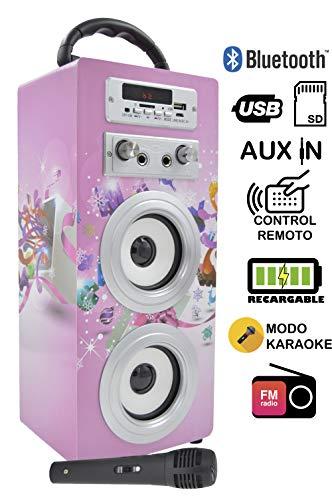 DYNASONIC Altavoz Karaoke Infantil de Juguete con tecnología Bluetooth, 10W y diseño...