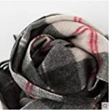 H-M-STUDIO Schal Büro Klassischen Gitter Schal Und Winter Warmen Schal Für Männer Und Frauen Grau Weiß Rot Gitter 140Cm