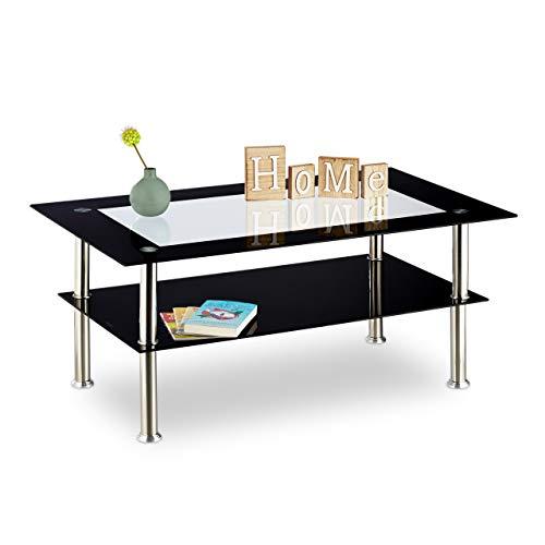Relaxdays Couchtisch Schwarzglas, 2 Ablagen, niedrig, durchsichtige Tischplatte, Edelstahl, 100 x 60 x 42 cm - Edelstahl Tischplatte