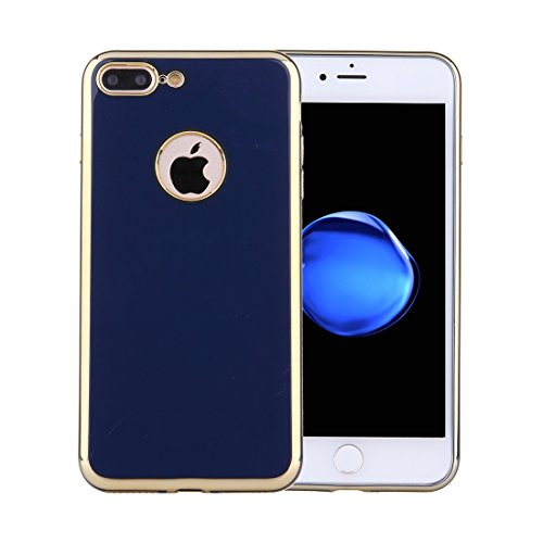 YAN Für iPhone 7 Plus Galvanotechnik Soft TPU Schutzhülle ( Color : Dark blue ) Dark blue