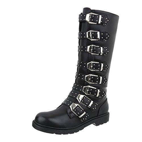 Ital-Design Western- & Bikerstiefel Damen-Schuhe Western- & Bikerstiefel Blockabsatz Blockabsatz Reißverschluss Stiefel Schwarz, Gr 40, 8940-