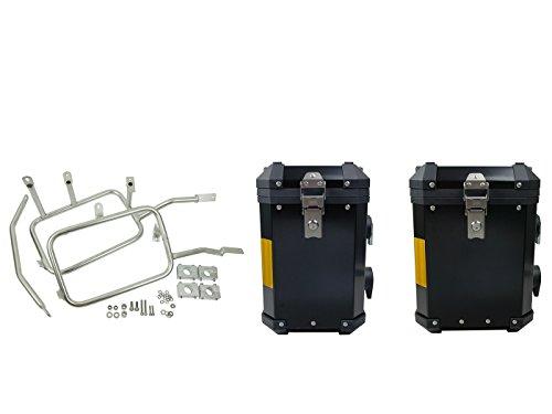 Preisvergleich Produktbild Koffer Satz Alu BMW R1200 GS Adventure ab Bj.2013 Edelstahlträger 45+38Liter Schwarz