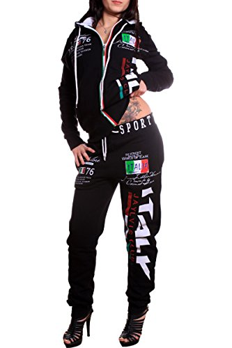 Damen Sportanzug Jogginganzug Italien 100% Baumwolle (XL==Fällt Groß aus, Schwarz)