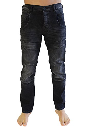 Hommes Pantalon Cargo Combat Jean By Crosshatch Noir - Black - FRIARS