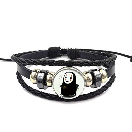 Haushele OFD Spirited Away No Face Man geflochtenes schwarzes Leder Perlen Armband Armband Zeit Edelstein Armband