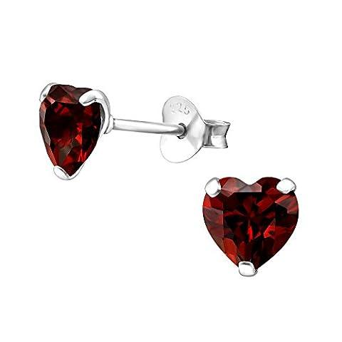 Red Cubic Zirconia Love Heart Earrings (6mm) Sterling Silver