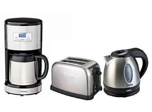 H.Koenig Edelstahl Frühstücks-Set: Kaffeeautomat mit Thermoskanne und Zeitschaltuhr + 1,2 Liter schnurloser Wasserkocher + 2-Scheiben-Toaster