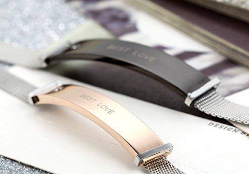 Flongo Bracelet Acier Inoxydable BEST LOVE Couple Amour Valentin Anniversaire Fantaisie Bijoux Cadeau Couleur Noir Rose Or pour Femme Homme or/femme