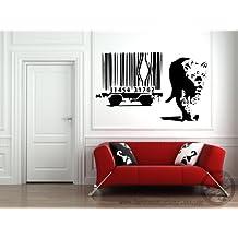 Adhesivo decorativo para pared, diseño de Banksy Leopard Barcode, vinilo, 45x 80cm