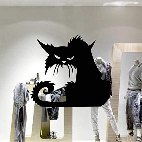 Neue Heiße Verkaufs-Glasfensterrückseite Der Schwarzen Katze Halloweens Schnitzte Wandaufkleber (Halloween Katze Heiße)
