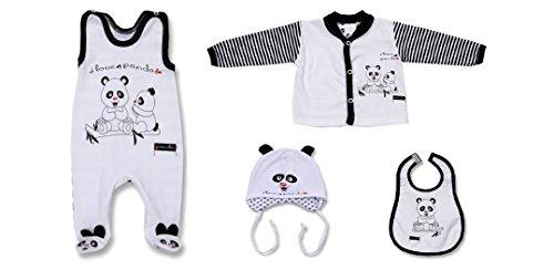 Seruna Geschenk-Set Baby BY40 Gr. 62, Erst-Ausstattung mit Panda Säugling-e Babies Mädchen u. Junge-n Tauf-Geschenk (Oster-outfits Passende Jungen)