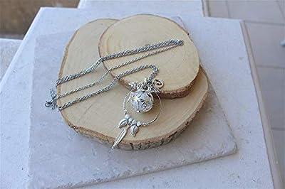 bola de grossesse chaine acier inoxydable cage ange argent plaqué plume feuille perle