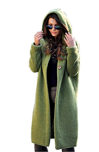 Lsecret  Damen Strickjacke Mantel Wolle Mohair 36 38 40 (Grün) - Mantel Damen Kurz Wolle Jacke