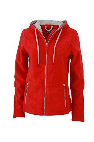 Fleece Hoody Jacke (James & Nicholson Damen Fleece Hoody Jacke, Rot (Red/Steel-Grey), 38 (Herstellergröße: L))