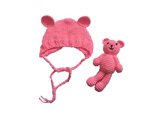 Matissa Neugeborenes Baby häkeln Strick Kostüm Fotografie Prop Baby Bär Hut und Puppe Set (Rosa)