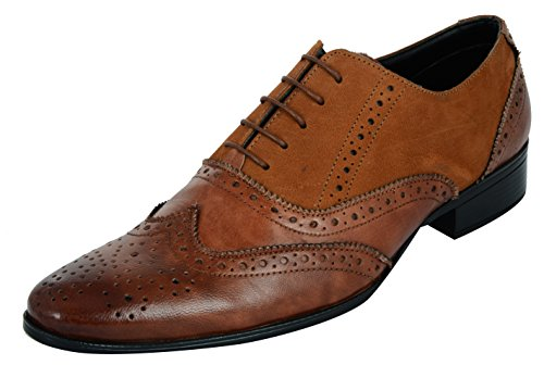 Auserio Men's Tan Leather Formal Shoes - 7 UK/India (41 EU)(SS-249)