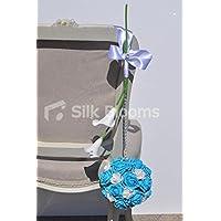 Aqua Blu e bianco rosa Pomander Wedding Pew Fine w/bianco calla Lilies