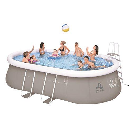 Jilong Chinook Quick-Up Swimming Pool Set 540x304x106 cm mit Oval-Pool Becken Sandfilter-Pumpe Leiter Bodenplane Abdeckplane, Stahlrohr Schwimmbecken Stahlrahmen Schwimmbad Familienpool inkl. Zubehör