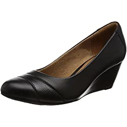 Clarks zapatos inteligentes de tacón de cuña de tacha de Brielle Black Leather 6½ D