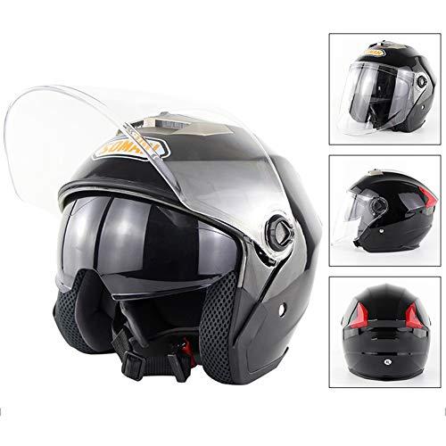 Halb Helm Light ABS Motorrad-Helm Vier Jahreszeiten Männer und Frauen Anti-Fog Double Lens Helm Lining Washable Rad-Helm,XL