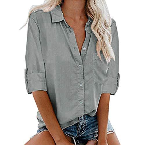 Damen Bluse Sommer Shirt Lange Ärmel Hemd Tops Oberteile Frauen Hemdbluse Elegant T-Shirt Baumwolle Lässige Mode Button Einfarbig V-Ausschnitt Hemd