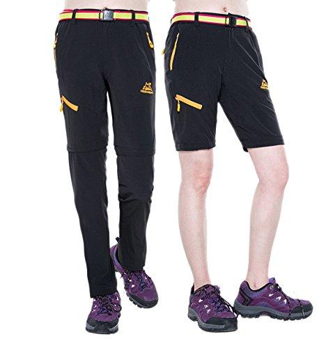 Srizgo Outdoor Hose Damen zwei Teile zerlegbar mit Gürtel Sonnenschutz Quick Dry Schnell trocknende Wanderhose Funktionshose(EU L, Schwarz)