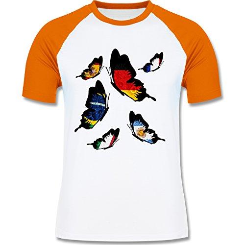 Länder - WM 2014 Länder Schmetterlinge - zweifarbiges Baseballshirt für Männer Weiß/Orange
