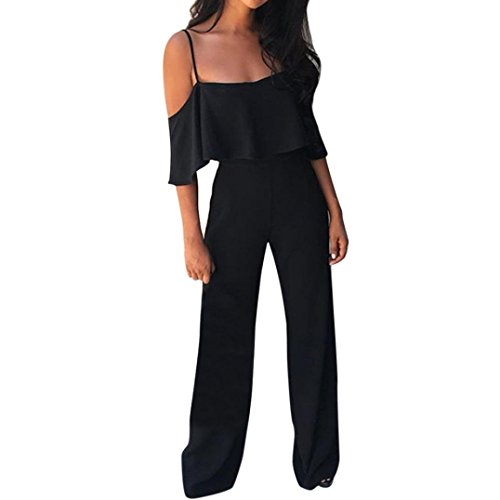 Women Jumpsuits HEHEM Women Sexy Solid Camisole Playsuit Trousers Casual Long Pants Beach Jumpsuit Fashion Rompers Playsuit Summer Off Shoulder Sexy Jumpsuit