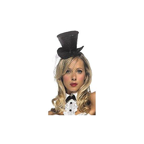 Leg Avenue - Mini Glitter Top hat mit Schleier - 2063, Farbe:Schwarz;Groesse:One (Glitter Schwarz Hat Mini Top)