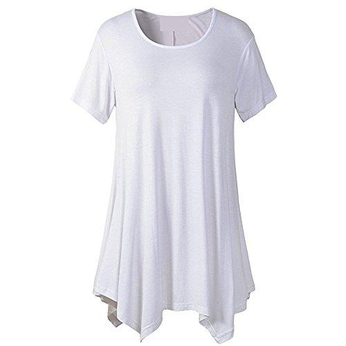 PorLous Bluse, 2019 Mode Frauen Weiblich Damen Kurzarm O-Ausschnitt Unregelmäßiger Saum Lose Casual T-Shirt Tops Bequem Elegant.