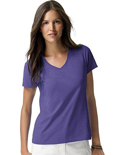 Camiseta con cuello en V Nano-T para mujer Ringspun, morada, peque?a