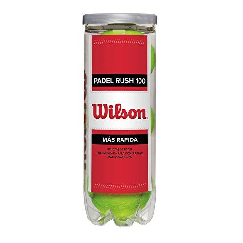 WILSON Rush 100, Palline da Padel, Confezione da 3, Compatibili con Ogni Tipo di Campo, WRT136500 Unisex, Giallo