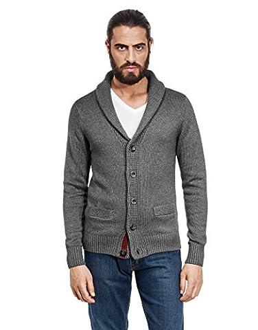 VB Cardigan, chunky knit, with shawl collar, slim-fit,L,dark grey