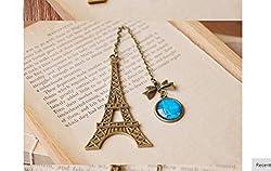 Di Grazia Paris Eiffel Tower Metal Bookmark, Pendant Charm, School Supplies Page Holder Charm - Copper