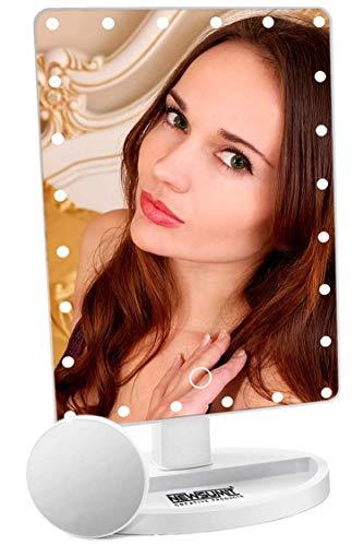 NEWSUMIT Espejo Maquillaje con luz 24 led - Espejo de Mesa con Organizador - Dimmer táctil - Aumentos...