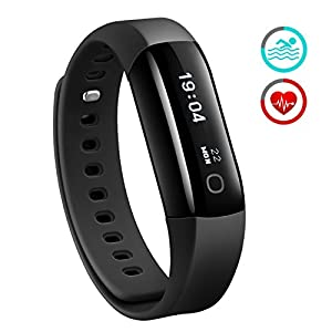 Fitness Tracker, Mpow Heart Rate Monitor Smart Bracelet Activity Tracker Pedometer Wristband Sleep Monitor Touch Screen Waterproof Smartwatch for Android and iOS Smartphones Such as iPhone 7 7 Plus 6s 6 5 5S, Samsung S8 S6, Huawei, LG, Sony, Black